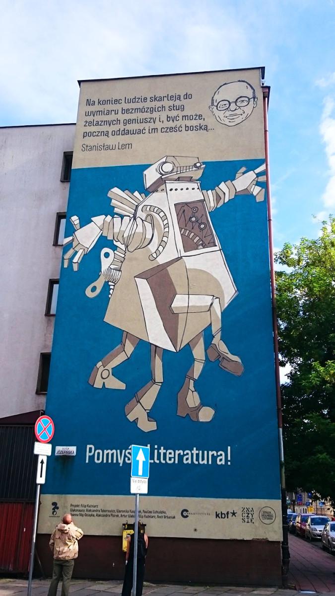 Kraków - murale - Blok mieszkalny – ul. Józefińska 24 - Filip Kuźniar - Lem