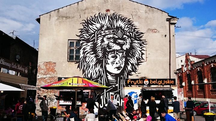 Kraków - murale - Skwerek z Foodtrackami – ul. Świętego Wawrzyńca 14 - Pile Peled